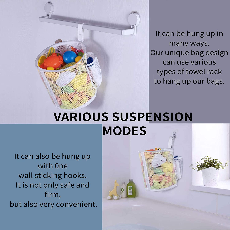 Quick Drying Kids Toy Holder Mesh Bath Toy Organizer Wall Mounted Storage Basket 4 Ultra Strong Hooks Bath Toy Bin W, W, P0S Toddler Shower Caddy for Bathroom Bathtub Storage Bag