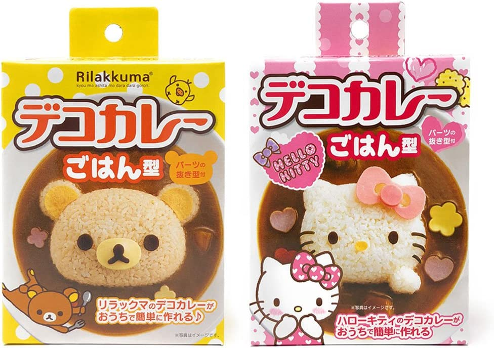 OSK Mold Set for Rice Decoration for Kids, Rilakkuma and Hello Kitty Rice Decoration Set, BPA Free (Rice Mold Set)