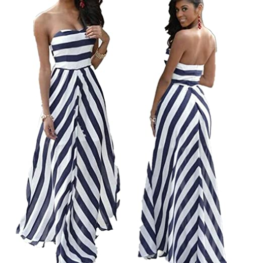 52944856ae2e1 Elogoog Women s Chiffon Off Shoulder Sexy Long Boho Maxi Evening Party  Strapless Stripe Dress (Blue