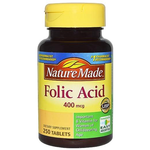 Nature Made Folic Acid 400 mcg, 250 Tablet (pack of 2)