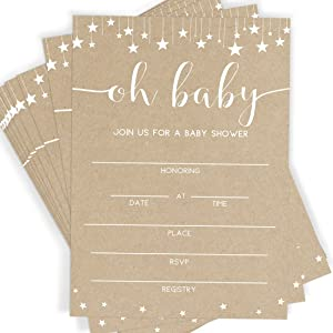 Kraft Baby Shower Invitations, 25 Invitations and Envelopes, Rustic Baby Shower, Sprinkle and Bash Invites