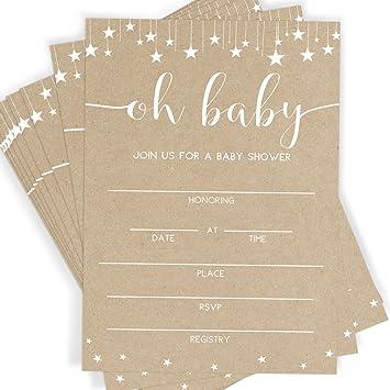 Amazon kraft baby shower invitations 25 invitations and kraft baby shower invitations 25 invitations and envelopes rustic baby shower sprinkle and filmwisefo