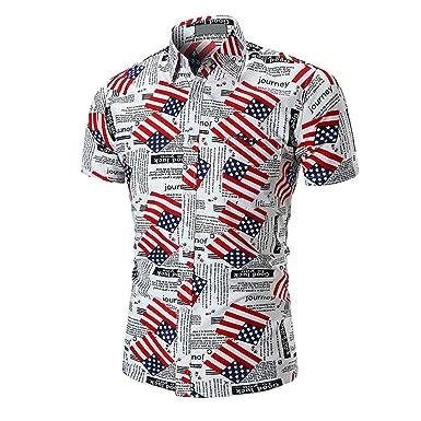 5089dbfbb2ae ZKOOO Chemises Casual Hommes Manches Courtes Chemise de Plage Ete Drapeau  Imprimé Shirt Tops Beach Shirts