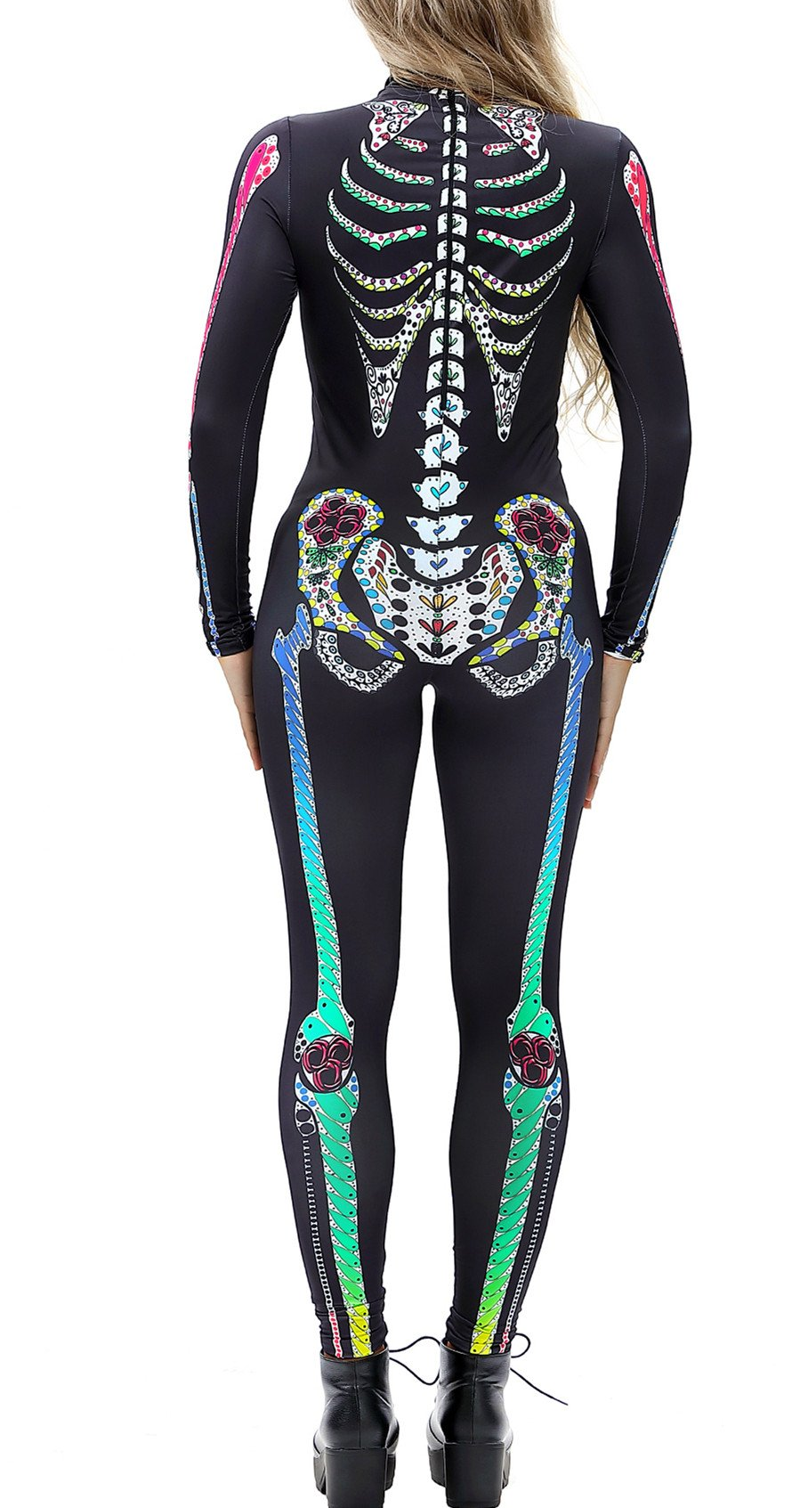Gludear Women Halloween Costumes Cosplay Skull Print Long Sleeve Jumpsuit Skeleton Catsuit,Colorful Skeleton,L by Gludear (Image #3)