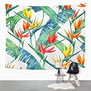 Houlor Tropical Flower Tapestry Floral Exotic Flowers Palm Leaves Jungle Leaf Bird Hawaiian Wall Hanging Art Print Home Polyester Decoration Apartment Bedroom Living Room Dorm Decor 50x60 Inches