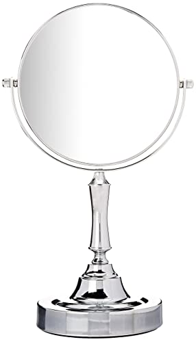 Sagler Vanity Mirror Chrome 6-inch Tabletop Two-Sided Swivel with 10x Magnification