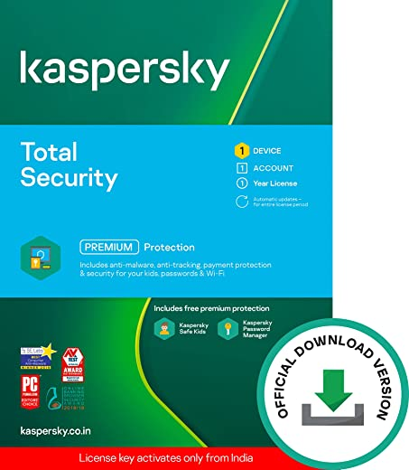 Kaspersky Total Security Latest Version- 1 User, 1 Year (Code emailed in 2 Hours - No CD) 1