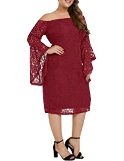 e0c54661a62 Lookbook Store Women Plus Size Crochet Lace Off Shoulder Bell Sleeve Party  Dress