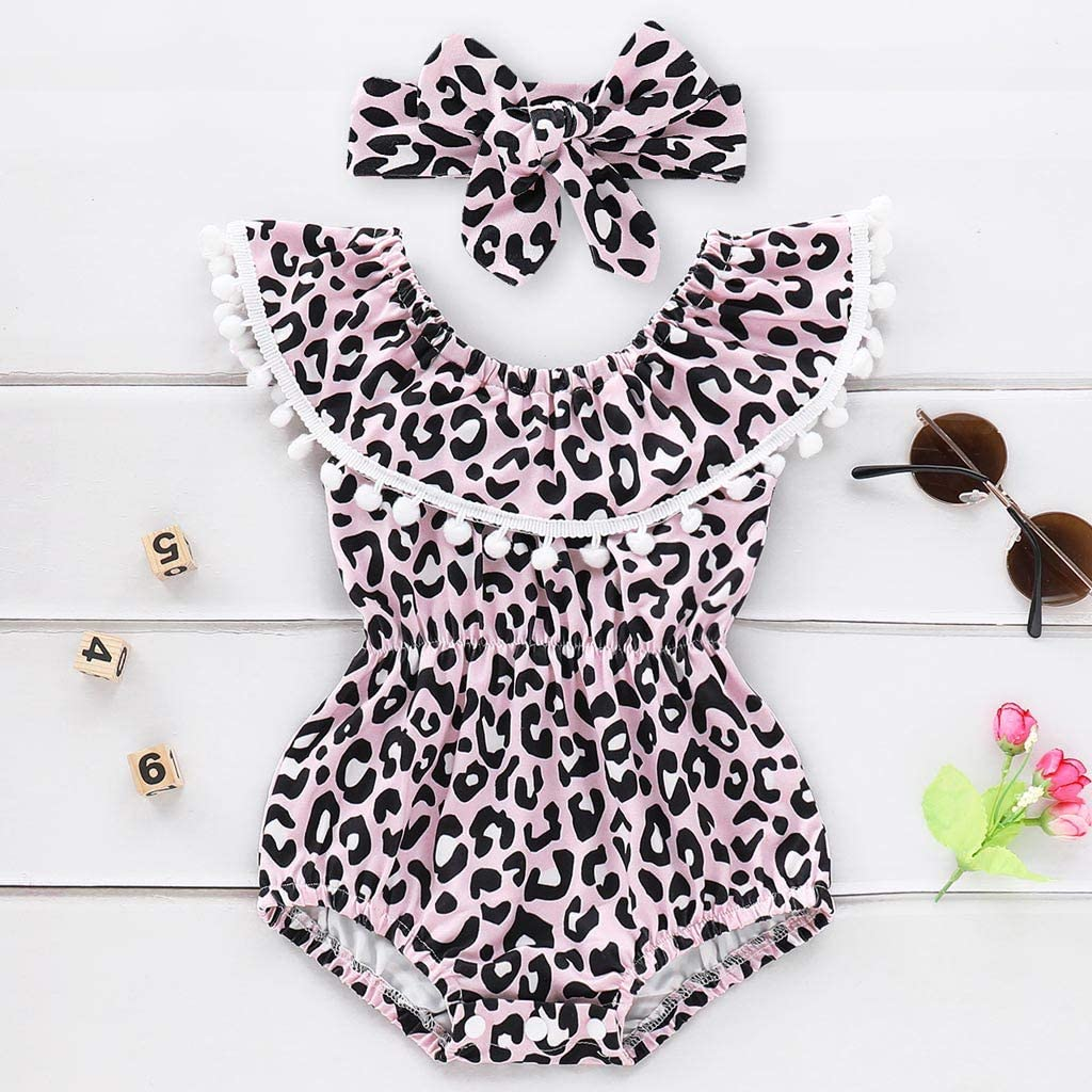 Baby Girl One Shoulder Swimsuit Infant Leopard Ruffles Tassel Sleeveless Swimwear Bathing Bikini Set