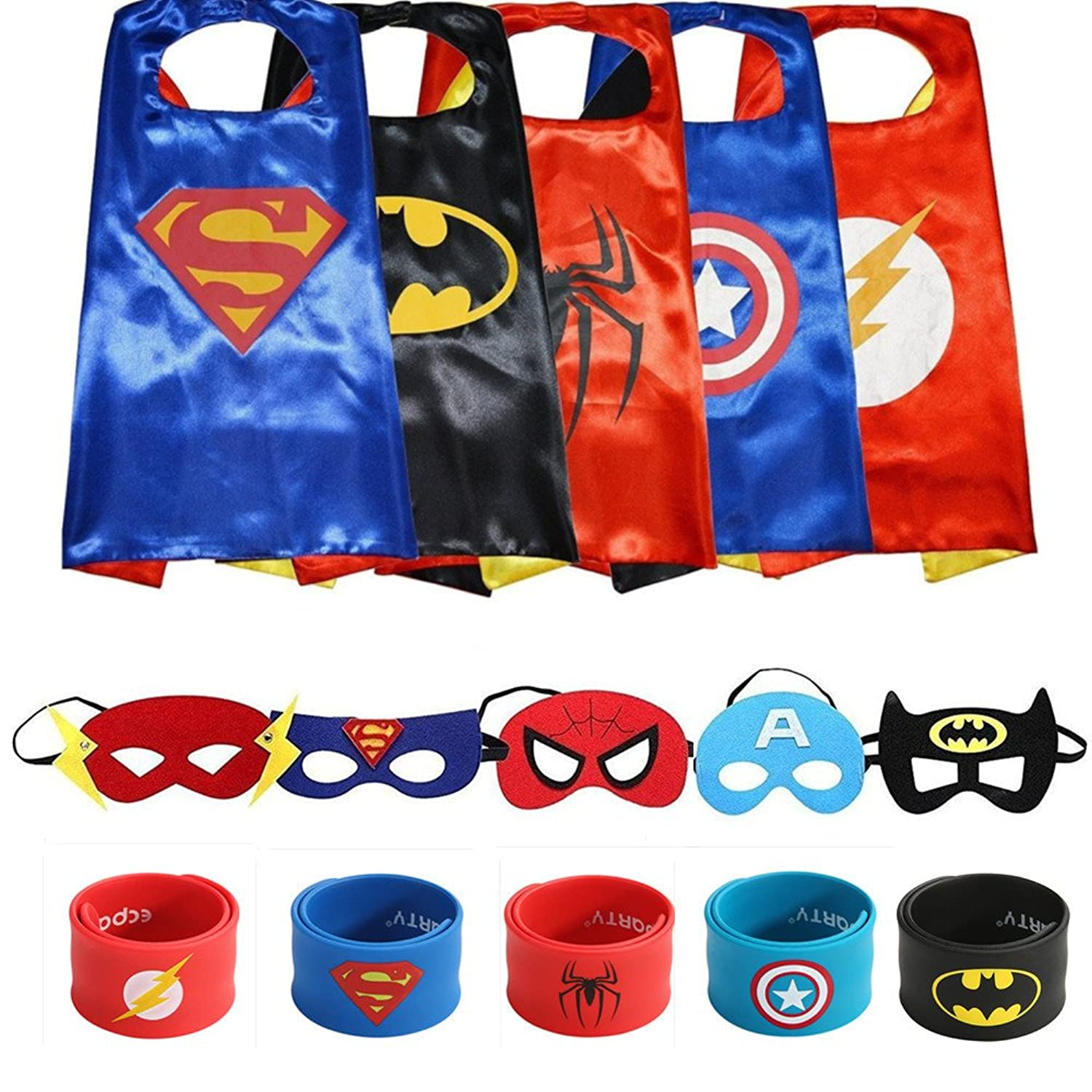 Superheros Cape and Mask Matching Slap Bracelet for Kids Costume and Dress Up