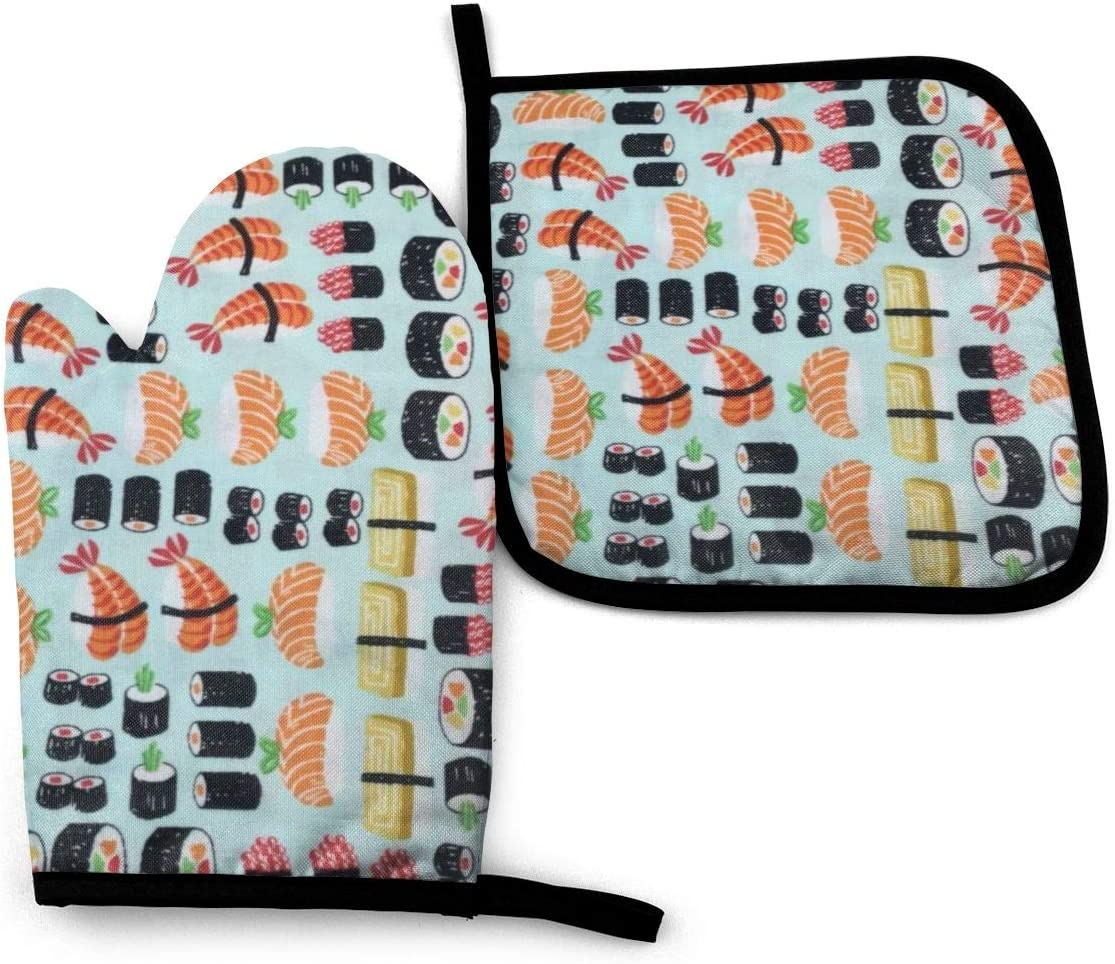 Fashion Sushi Oven Mitt and Pot Holder, Heat Resistant Hot Plate Moving Non-Slip Kitchen Glove & Potholder for Cooking,Baking,Grilling