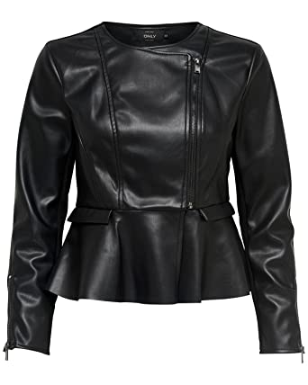 ONLY Giubbotto Mix Bandit Donna Nero Biker in Ecopelle con Volant 15161162   Amazon.co.uk  Clothing dbe27bb917e
