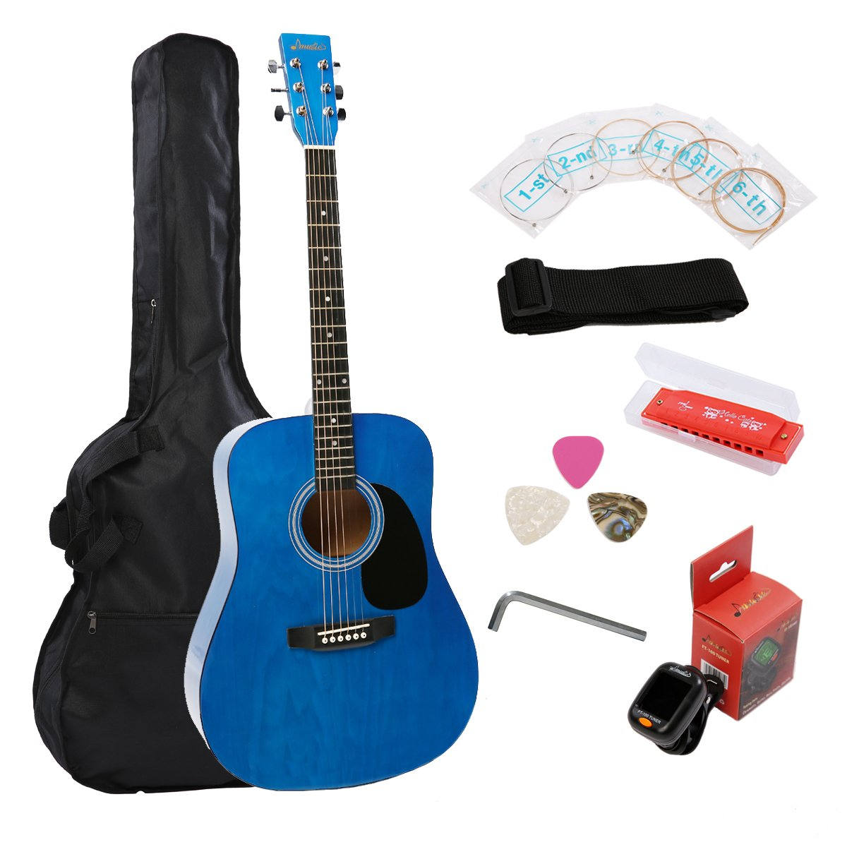 imusic 41 inch full size dreadnought 6 string beginner acoustic guitar ebay. Black Bedroom Furniture Sets. Home Design Ideas