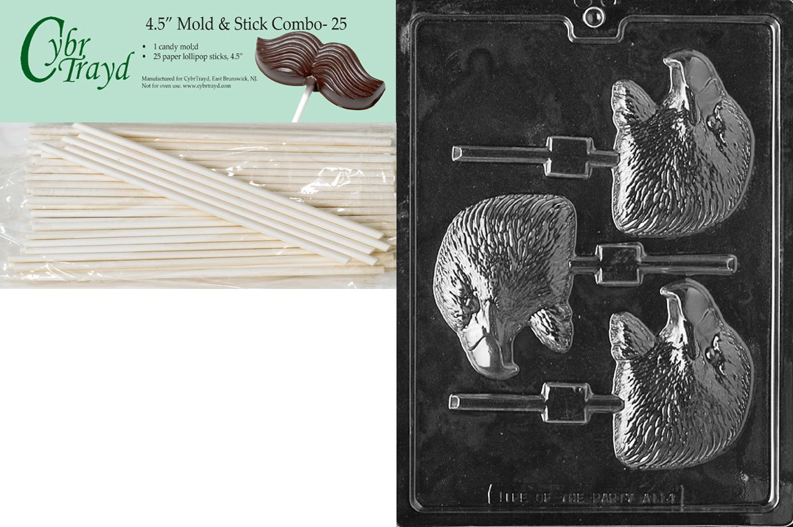 Cybrtrayd 45St25-A114 Eagle Head Lolly Animal Chocolate Candy Mold with 25 4.5-Inch Lollipop Sticks