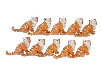 Miniblings Gatos 10x Gato Aufstellfigur Figura Animal Persa 6cm getiegert Rojo: Amazon.es: Juguetes y juegos