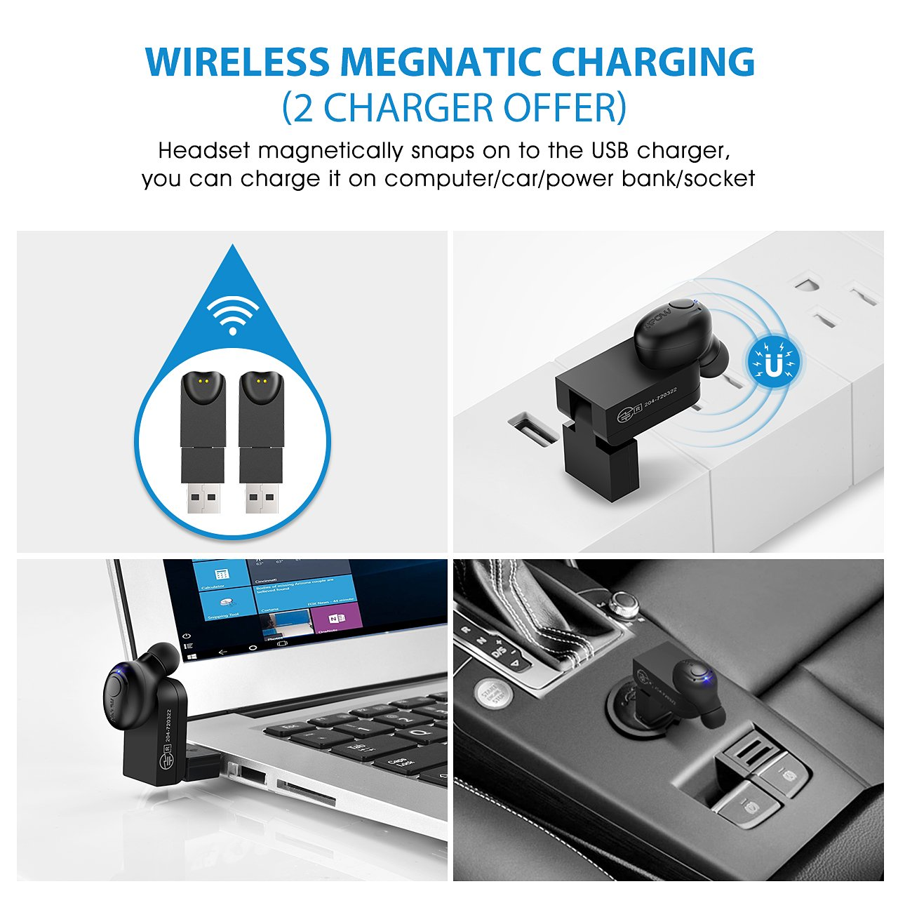 Mpow EM1 Bluetooth Earpiece, V4.1 Wireless Headphones, 6-Hr Playing Time Mini Bluetooth Earbud with Microphone, Invisible Car Bluetooth Headset for Cell Phone (One Pcs, Two Charger) by Mpow (Image #4)