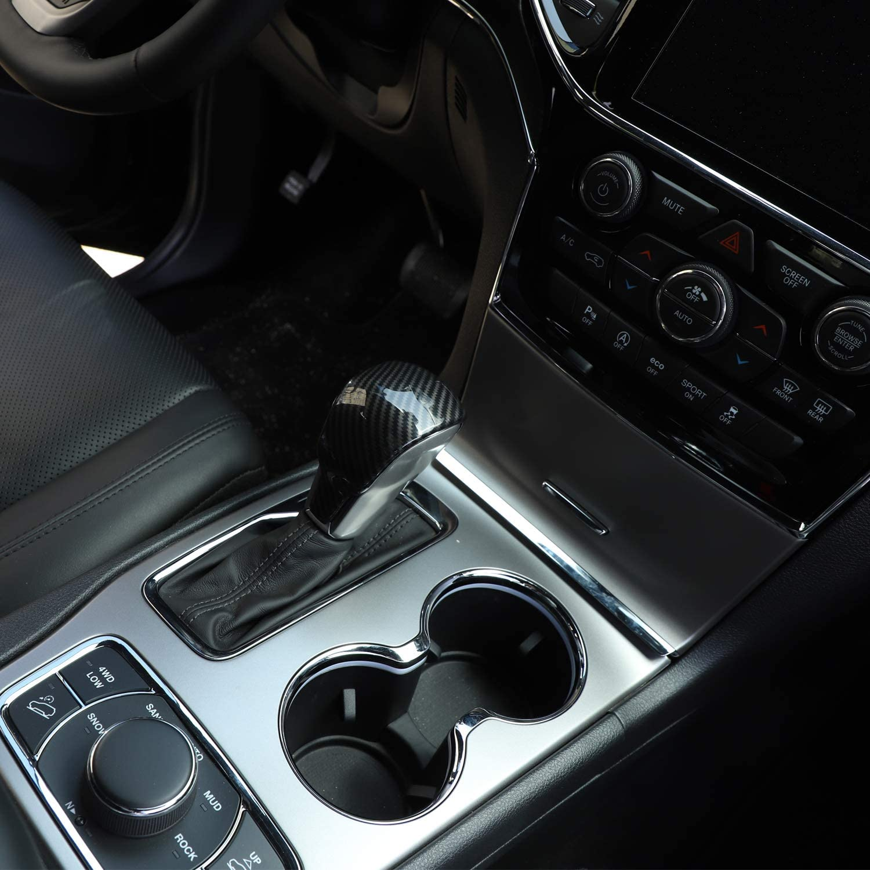 CheroCar Gear Shift Knob Cover Stick Shifter Cap Cover Frame for 2017-2020 Jeep Grand Cherokee Interior Accessories 1PC Carbon Fiber Grain