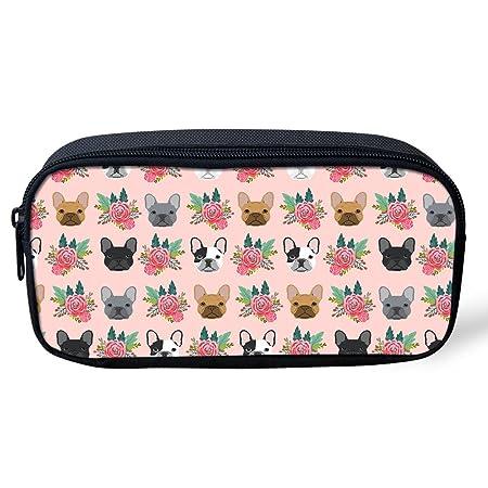 Coloranimal - Estuche para lápices con diseño floral para mujeres y niñas, color Bull Terrier Floral-1 8.66 inch(L) x1.77 inch(W) x4.33 inch(H): Amazon.es: ...