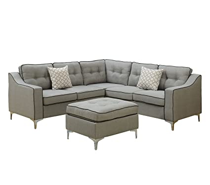 Stupendous Poundex F6998 Bobkona Effie Sectional With Ottoman Light Grey Uwap Interior Chair Design Uwaporg