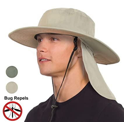 689f0f03c654c Unisex Fishing Hat with Foldable Neck Flap Cover Wide Brim Sun UV  Protection Hiking Safari Bucket