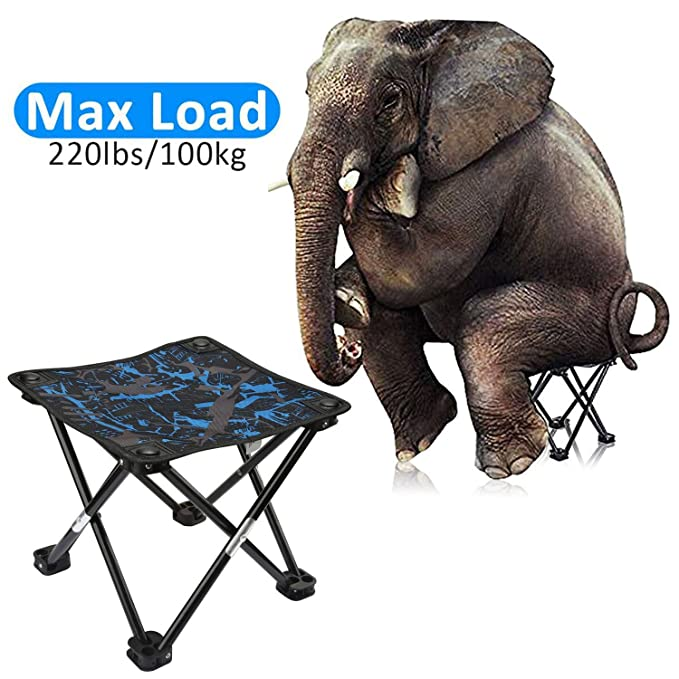 AILLOVCOL Mini Portable Folding Stool,Folding Camping Stool,Outdoor Folding Chair for BBQ,Camping,Fishing,Travel,Hiking,Garden,Beach,Oxford Cloth Seat ...