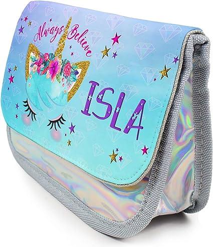Estuche personalizado con diseño de unicornio KS33 para niñas, bonito estuche escolar, color rosa: Amazon.es: Oficina y papelería