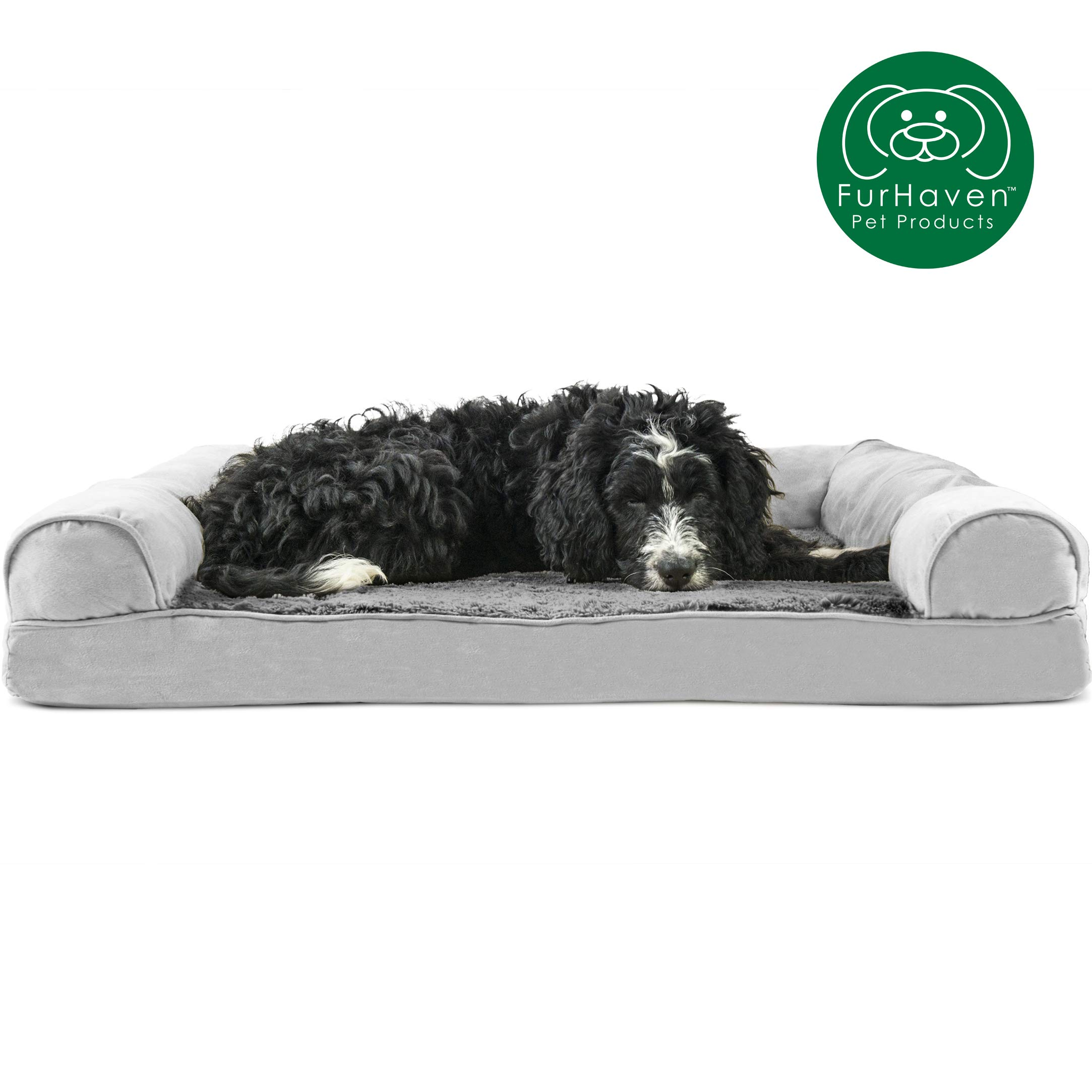 Furhaven Pet Dog Bed | Orthopedic Ultra Plush Faux Fur & Suede Traditional Sofa-Style Living Room Couch Pet Bed w/ Removable Cover for Dogs & Cats, Gray, Large by Furhaven