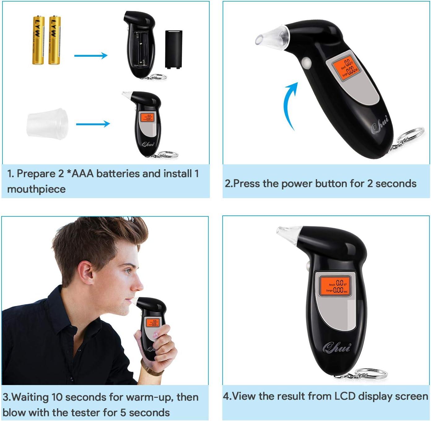 Professionale semiconduttore sensore Kit Ampio Display LCD Digitale Police etilometro Portachiavi con 5 bocchini e 2 batterie AAA Qhui Alcol Tester etilometro Portatile