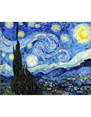 Wowdecor Paint by Numbers Kits for Adults Kids, DIY Number Painting - Starry Night by Van Gogh Beautiful Sky 40 x 50 cm - New Stamped Canvas (Frameless)