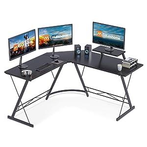 Coleshome L Shaped Home Corner Desk with Shelf