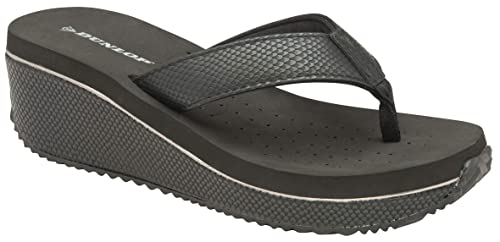 Dunlop Black Snakeskin Wedge Heel Toe Post Flip Flop Beach Summer Sandal Ladies