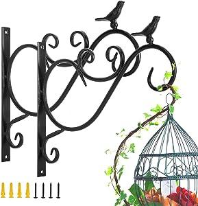 Lewondr Wall Hanging Plant Bracket, 2 Pack 12-inch Retro Outdoor Indoor Garden Hook Décor Iron Decorative Plant Brackets with Screws for Bird Feeder Wind Chime Lantern, Bird 01 - Spray Paint Black