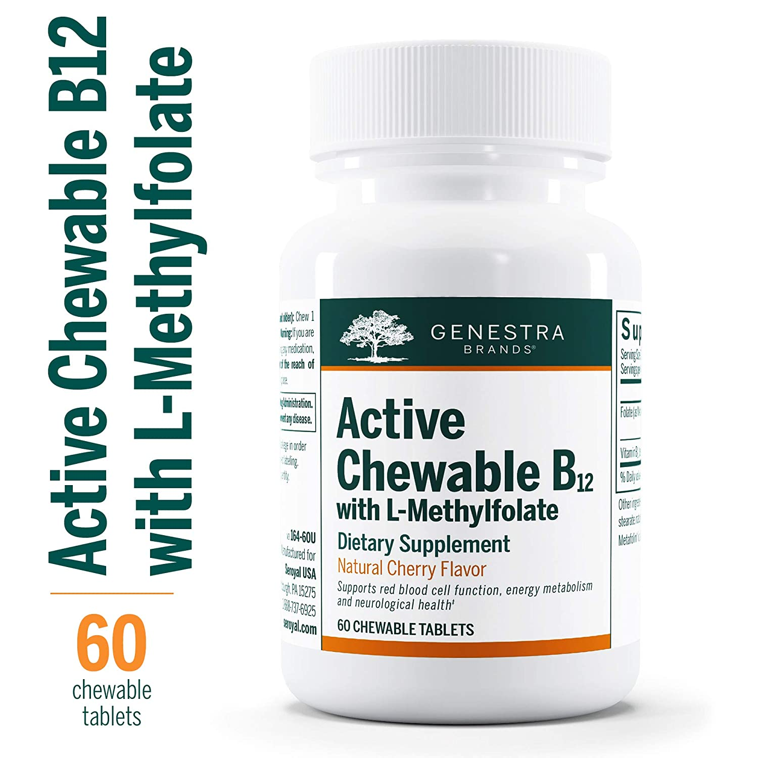 Genestra Brands – Active Chewable B12 with L-Methylfolate – Chewable Folate Supplement – Natural Cherry Flavor – 60 Chewable Tablets