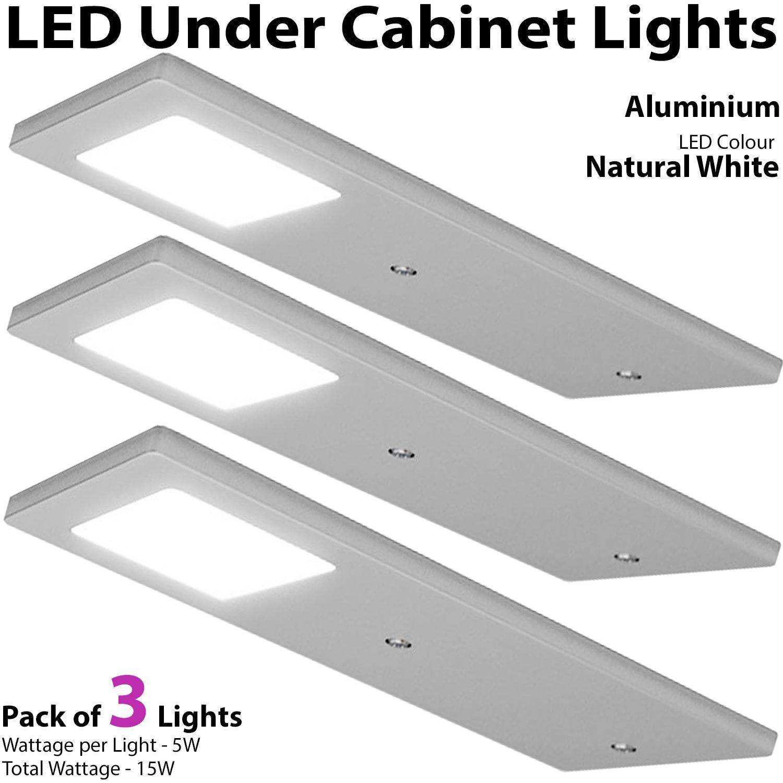 3x 5w led slimline low profile kitchen cabinet panel spot light driver kit aluminium natural white lighting beam worktop countertop down