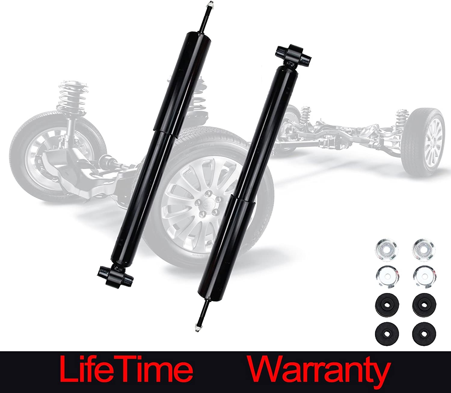 Both Rear Driver /& Passenger Side Shock Absorber Set for 03-11 Crown Victoria - 03-11 Town Car 2 - 03-08 Grand Marquis