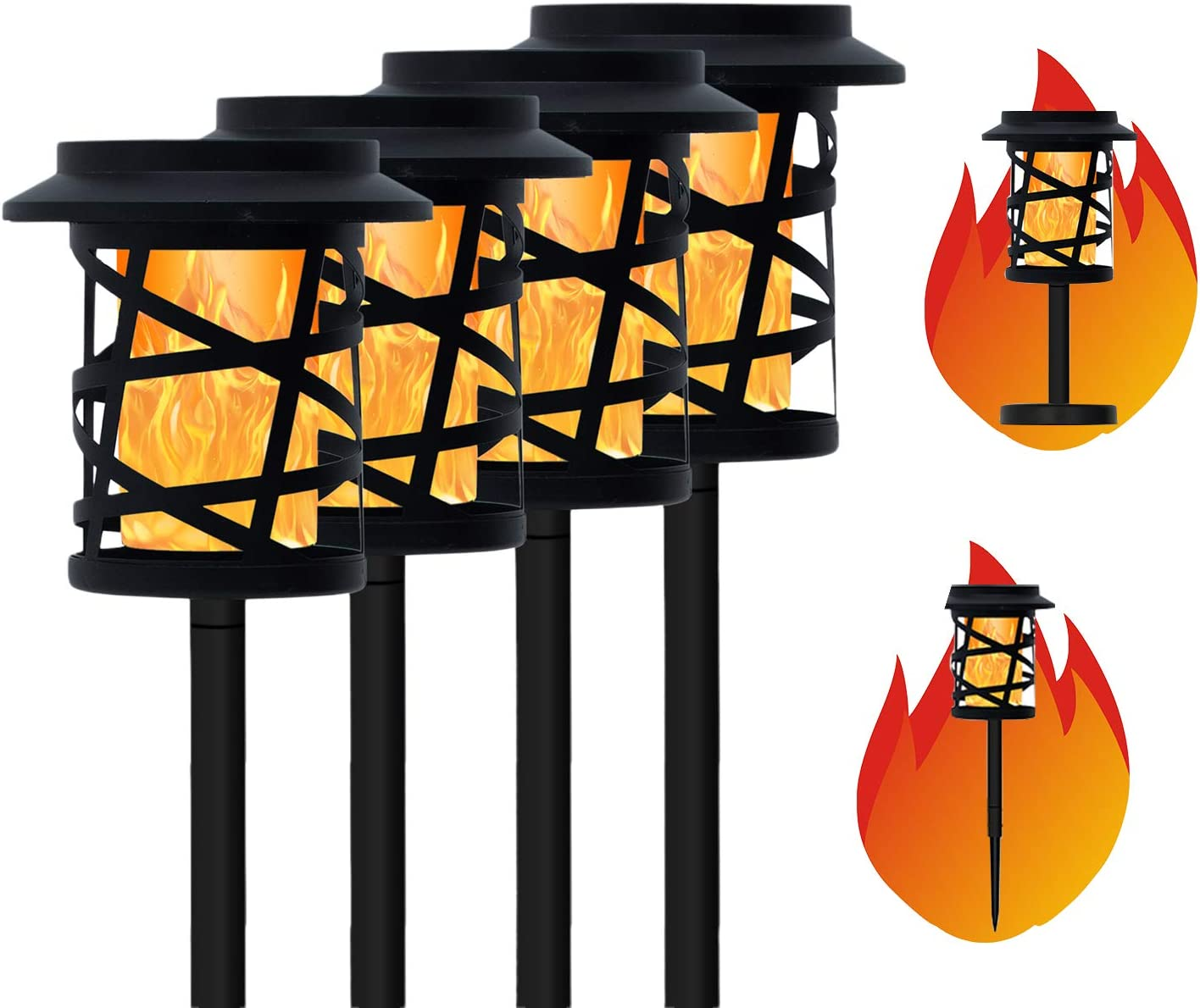 CHARMELEON Outdoor Solar Flame Torch Lights 4 Pack, Waterproof Led Solar Flickering Frame Torch, Dual-use Patio Torches for Garden and Driveway