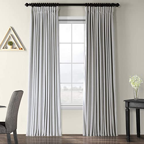 HPD Half Price Drapes VPCH-VET160401-120 Signature Extra Wide Blackout Velvet Curtain 1 Panel , 100 X 120, Reflection Grey