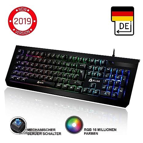 ??KLIM™ Domination - DEUTSCHE - Mechanische RGB-QWERTZ-Tastatur - Neue 2019 - Blaue Tasten - Schneller Präziser Angenehmer Ta