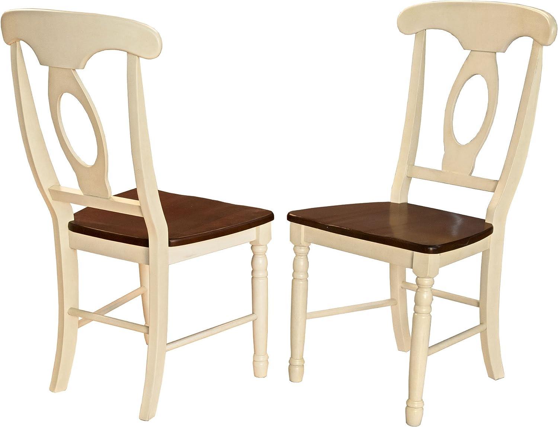 A-America British Isles Napoleon Side Chair – 2 Chairs, Merlot-Buttermilk