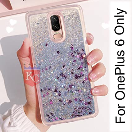 huge discount 8b940 9cabf KC Liquid Running Bling Glitter Sparkling Stars One Plus 6 Case Soft  Transparent Back Cover for OnePlus 6 (Silver)