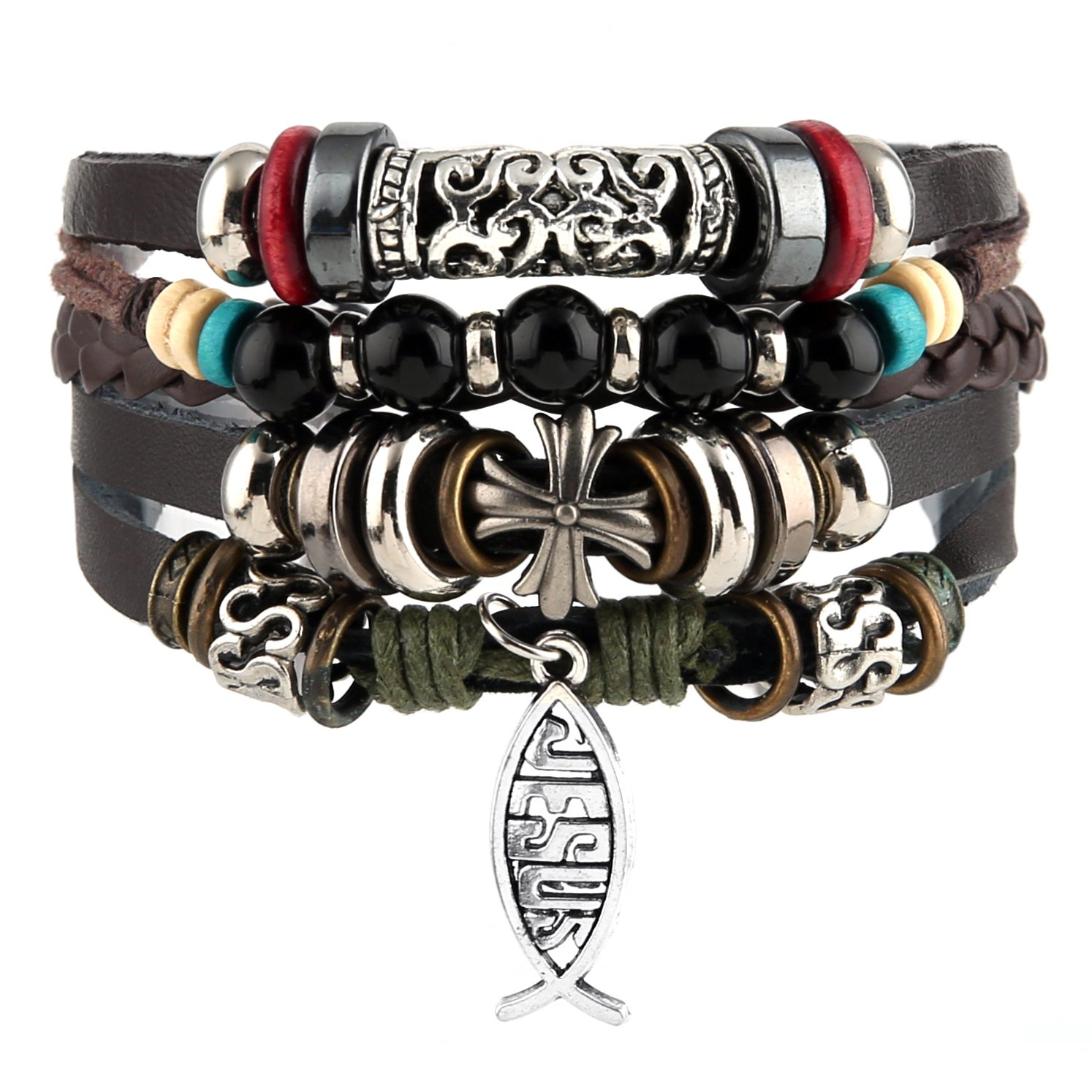 HZMAN Mix 4 Wrap Bracelets Men Women, Hemp Cords Wood Beads Ethnic Tribal Bracelets, Leather Wristbands SZ7506F