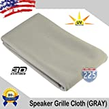 """Light Grey Stereo Speaker Grill Cloth Fabric 36"""" x 66"""" (1 linear yard) - UV Treated Strech Material 3D US Grille Cloth"""