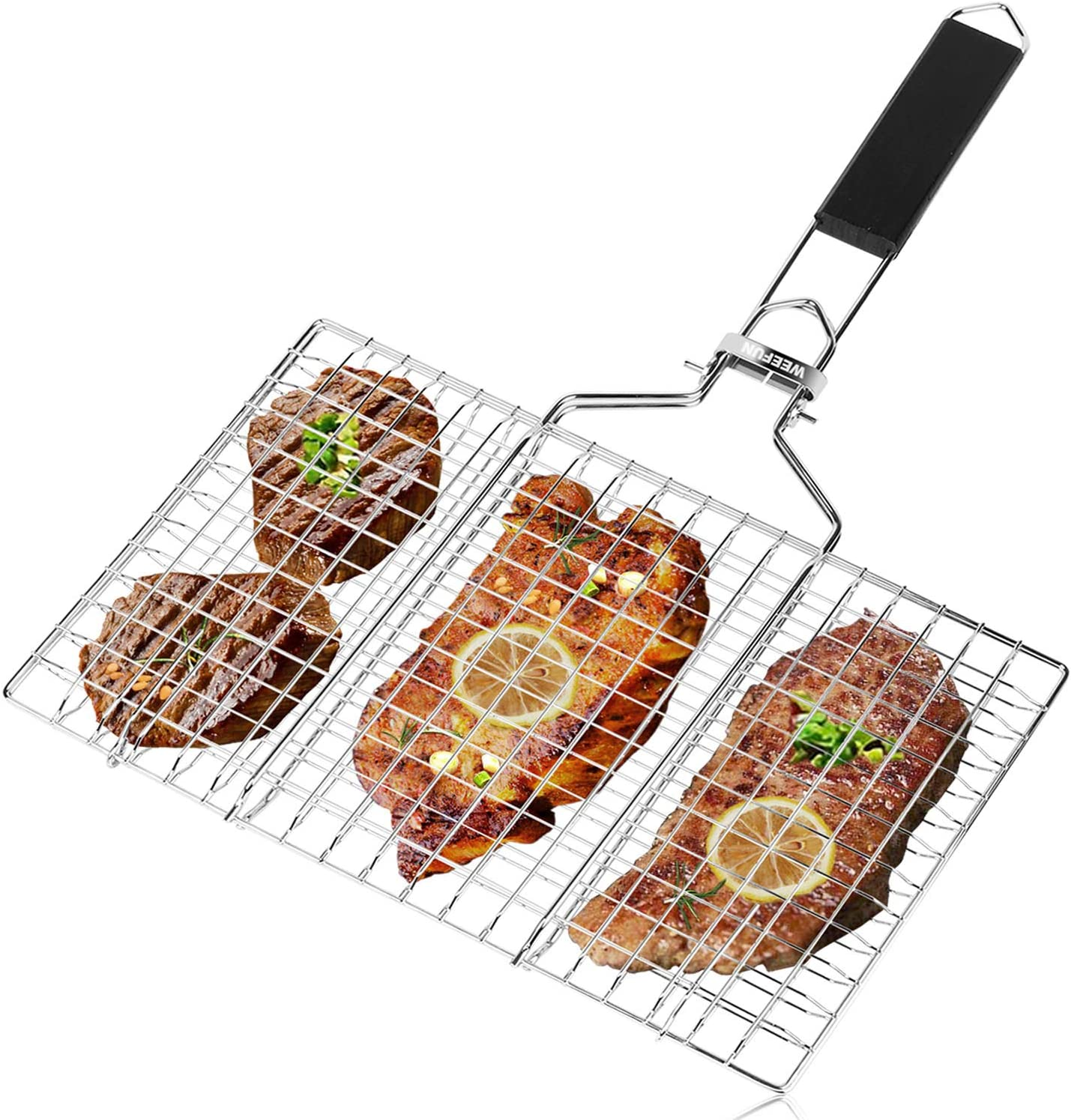 BBQ Barbecue Grilling Basket,Portable Stainless Steel Barbecue Net Fork with Removeable Handle. Useful BBQ Tool with Sauce Brush + Carrying Pouch