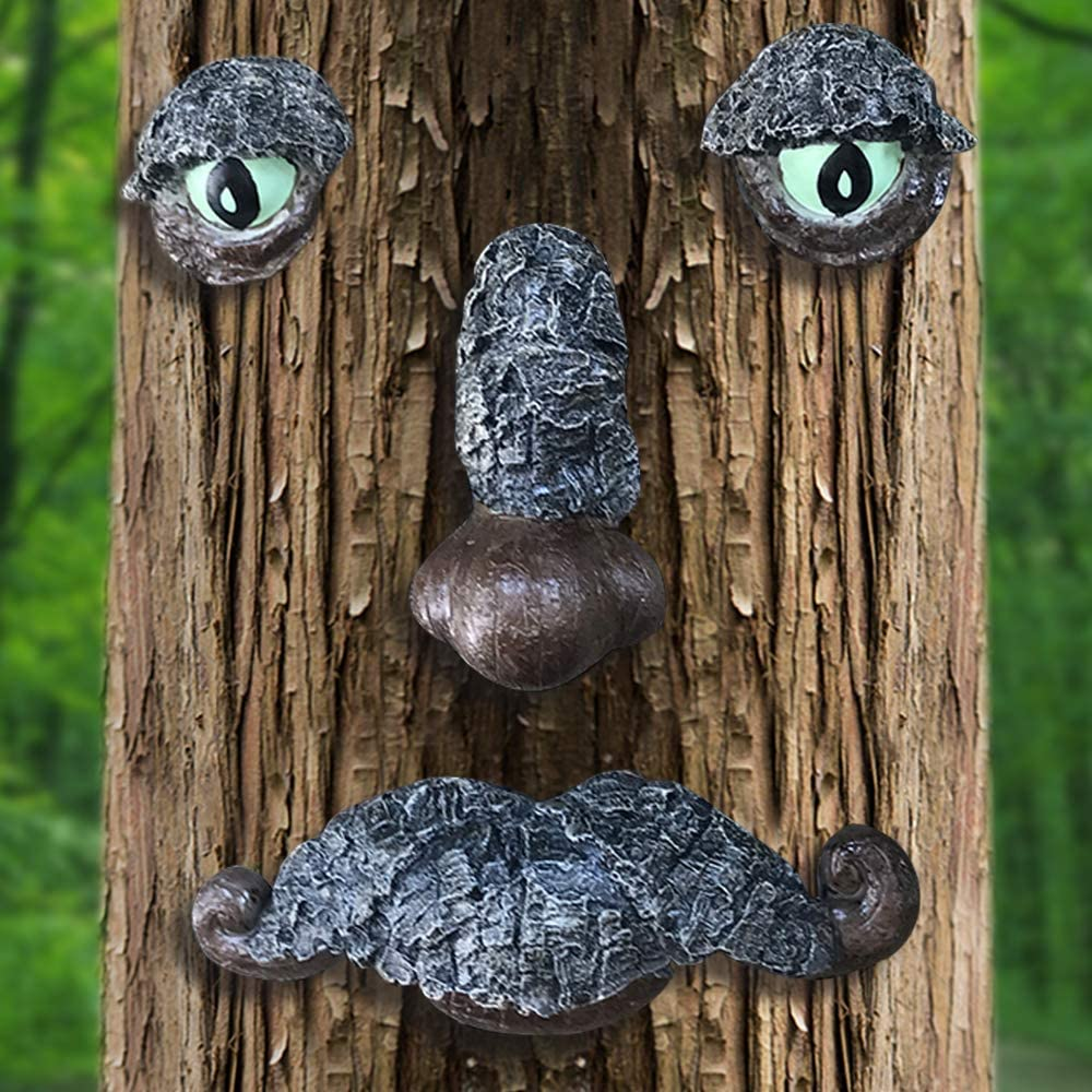 Claratut Old Man Tree Face Sculpture, Whimsical Tree Hugger Garden Peeker Yard Art Sculpture - Suitable for Outdoor & Garden Decor