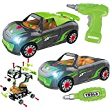 REMOKING Car Toys for Kids, 2 in 1 Take Apart Car Toys with Drill Tool&Sound&Light,Building Racing Car Playing Set…
