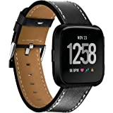 Kartice Compatible Fitbit Versa Bands Leather Fitbit Versa Genuine Leather Replacement Band with Black Stainless Steel Buckle Accessory Wristband Strap Compatible Fitbit Versa SmartWatch (Black 3)