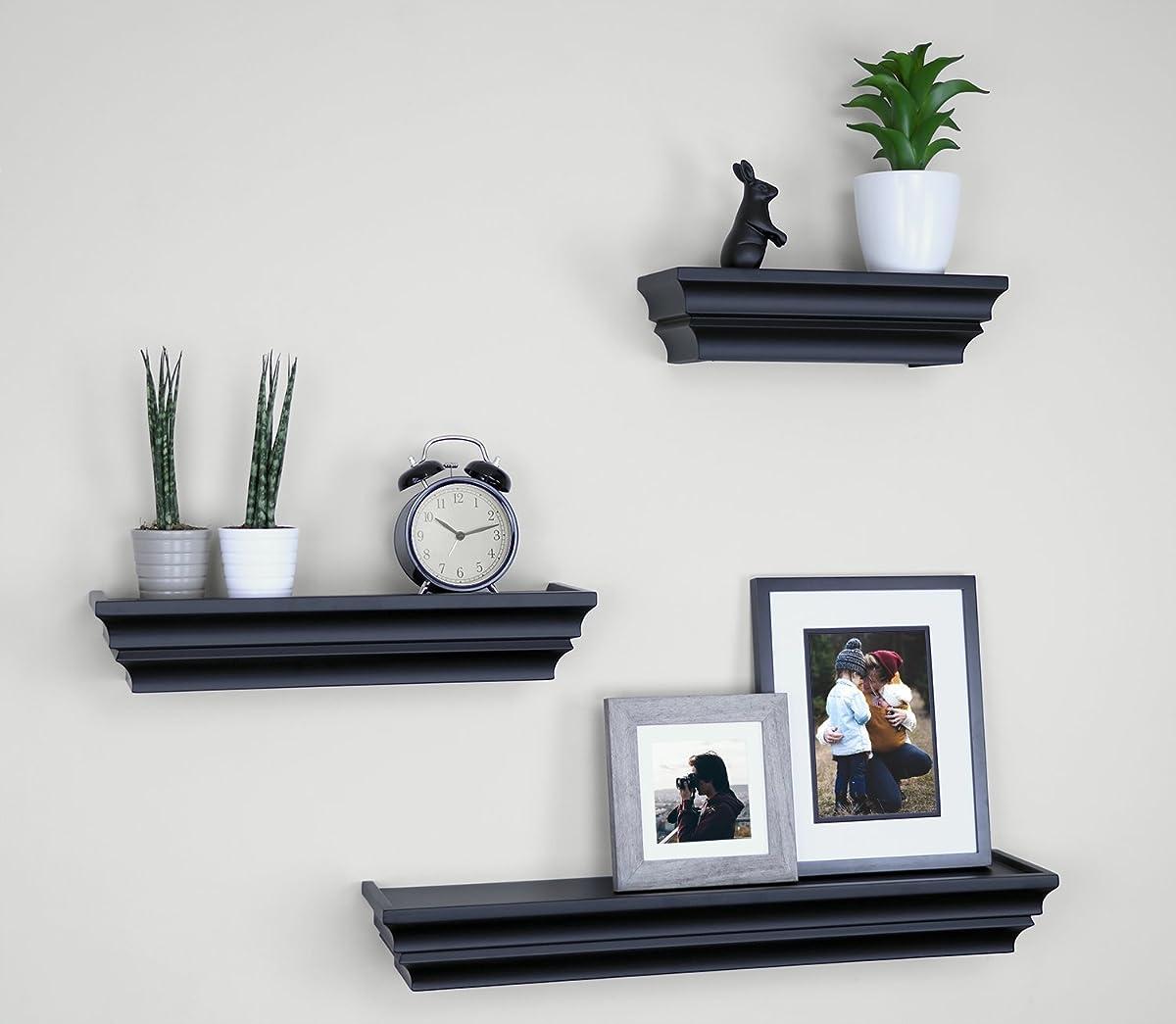 "Ballucci Victorian Wall Ledge and Shelf, 12"", 16"", 24"", Set of 3, Black"