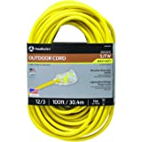 Southwire 25890002 2589SW0002 Outdoor Cord-12/3 American Made SJTW Heavy Duty 3 Prong Extension Cord, Water Resistant Vinyl J