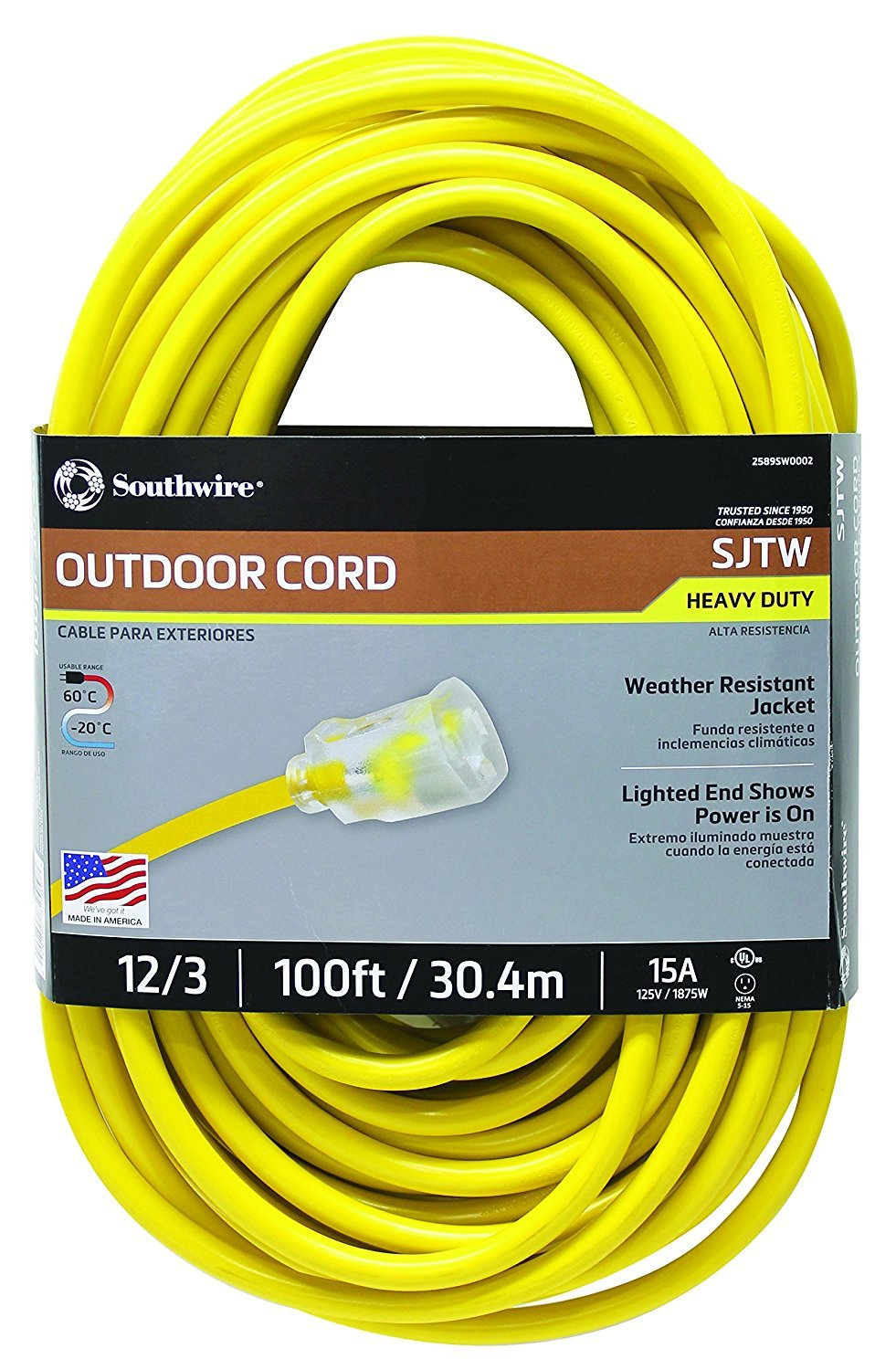 Southwire 02589SW 100 Ft Outdoor Extension Cord- 12/3 AMERICAN MADE SJTW Heavy Duty Grounded 3 Prong Extension Cord- Great for Commercial Use, landscaping services, Gardening, and Major Appliances