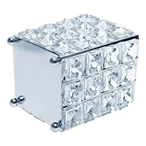 Crystal Makeup Brush Holder, Cosmetic Organizer, Make Up Organizer Pen Holder Home Organization and Storage Room Wall Decor Birthday Decor Teen Girls Bedroom Decor Boho Chic Decor(Square Silver)